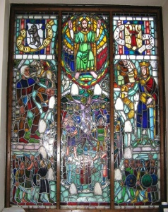 Stained glass window by Ralph Bergholtz (1946) in the district court building of Ängelholm, Sweden. In the middle is the stone circle as an ancient symbol of judging.