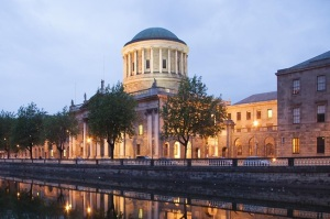 Four Courts, Dublin, Ireland, with a circular mid part resembling the ancient stone circles